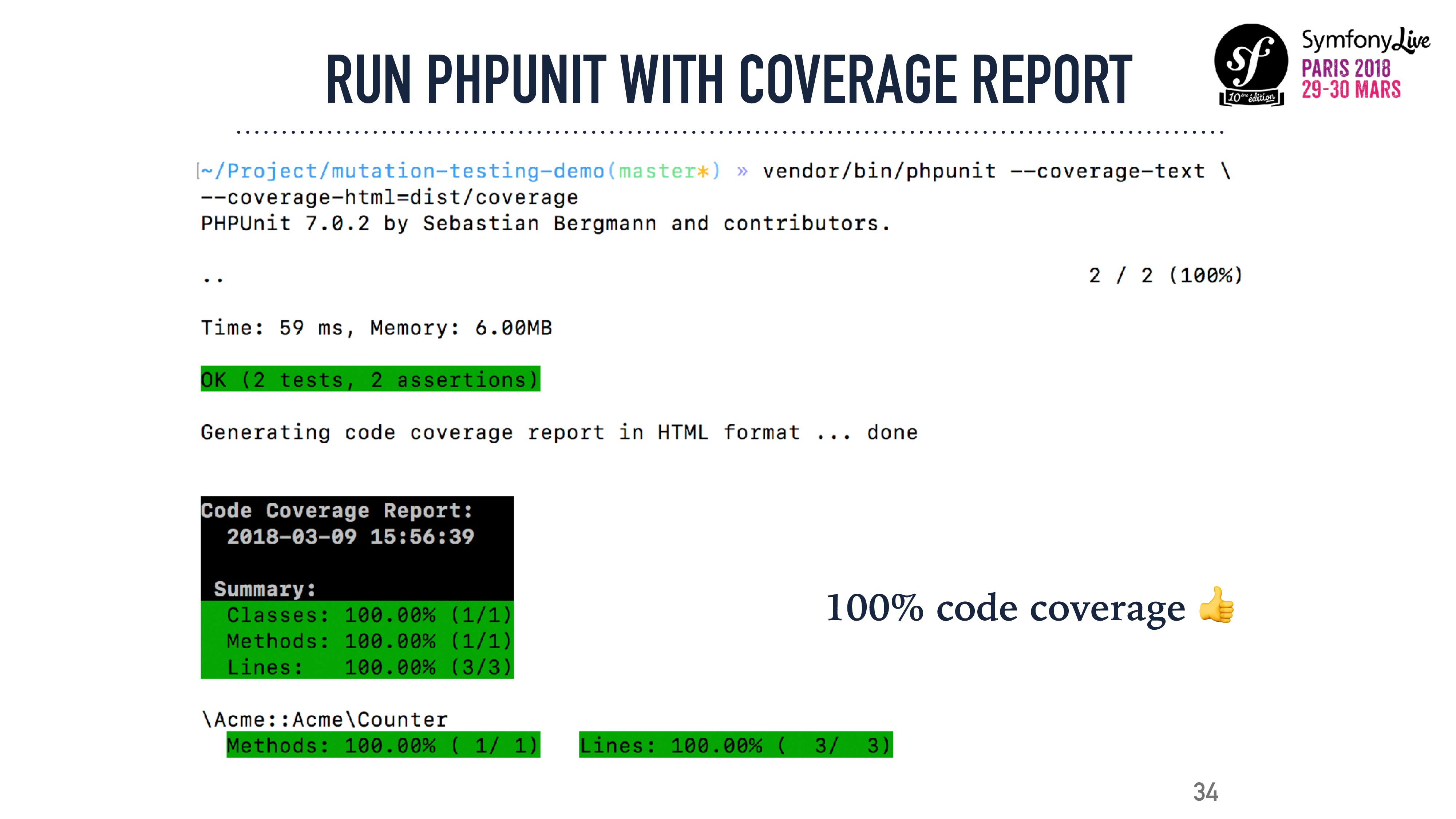 34 RUN PHPUNIT WITH COVERAGE REPORT 100% code c...