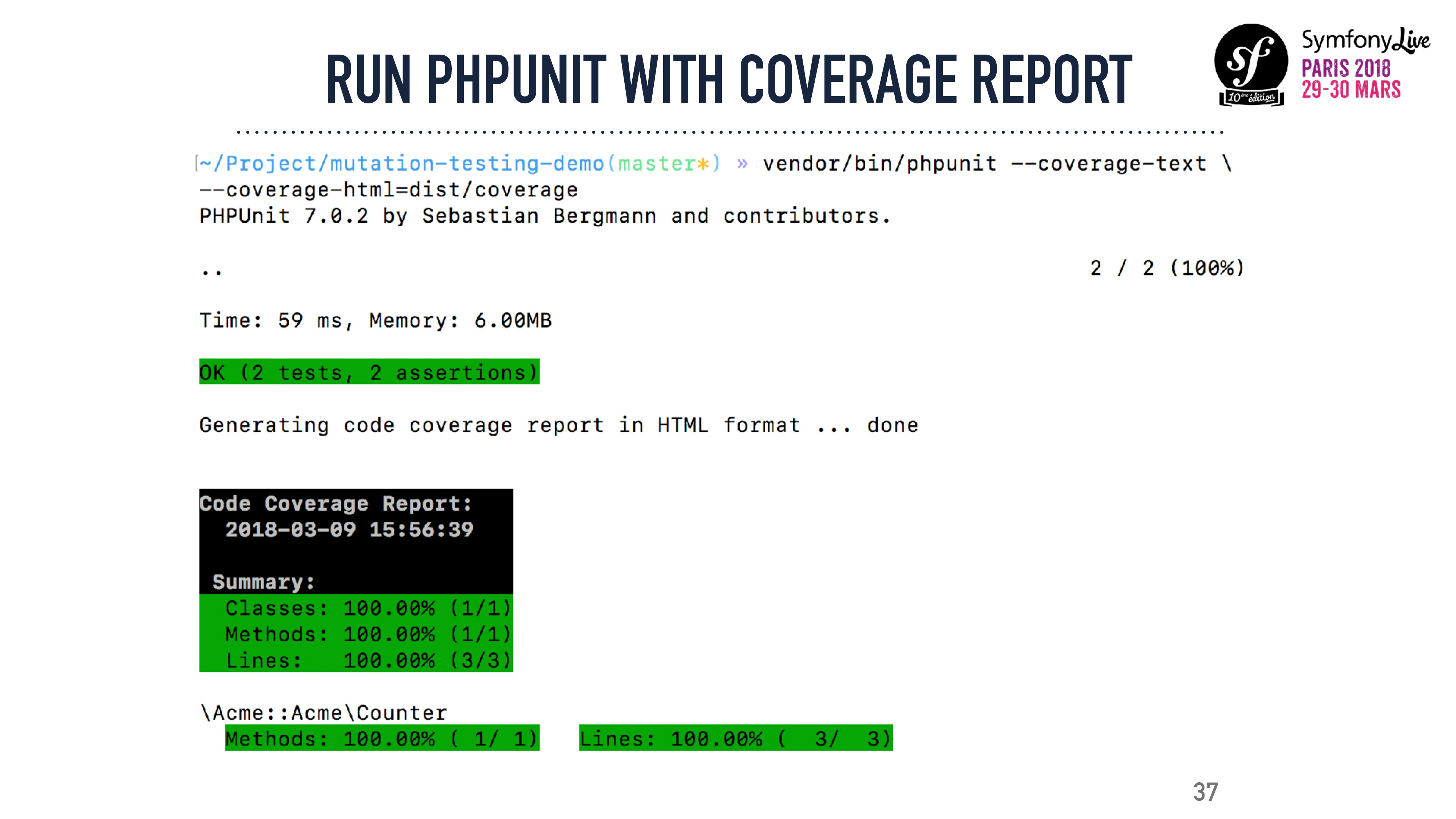 37 RUN PHPUNIT WITH COVERAGE REPORT
