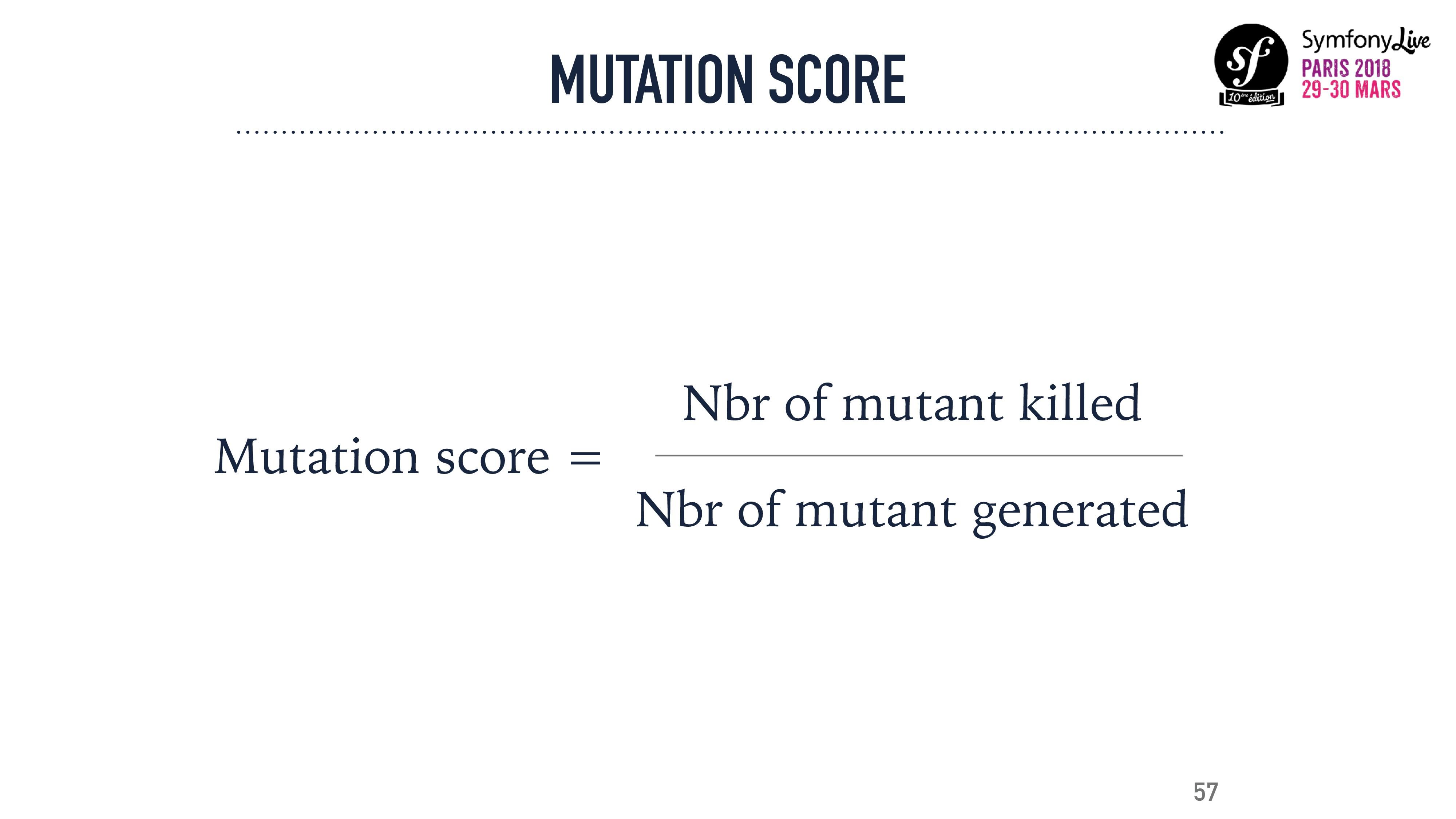 MUTATION SCORE Nbr of mutant killed Nbr of muta...