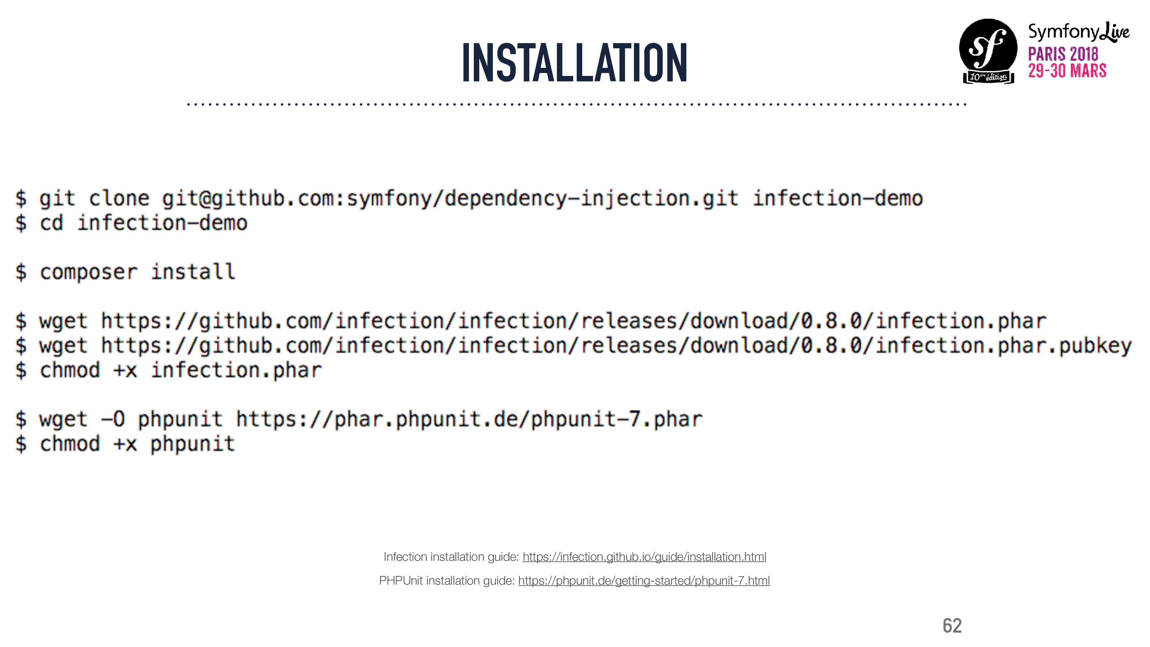 INSTALLATION 62 Infection installation guide: h...