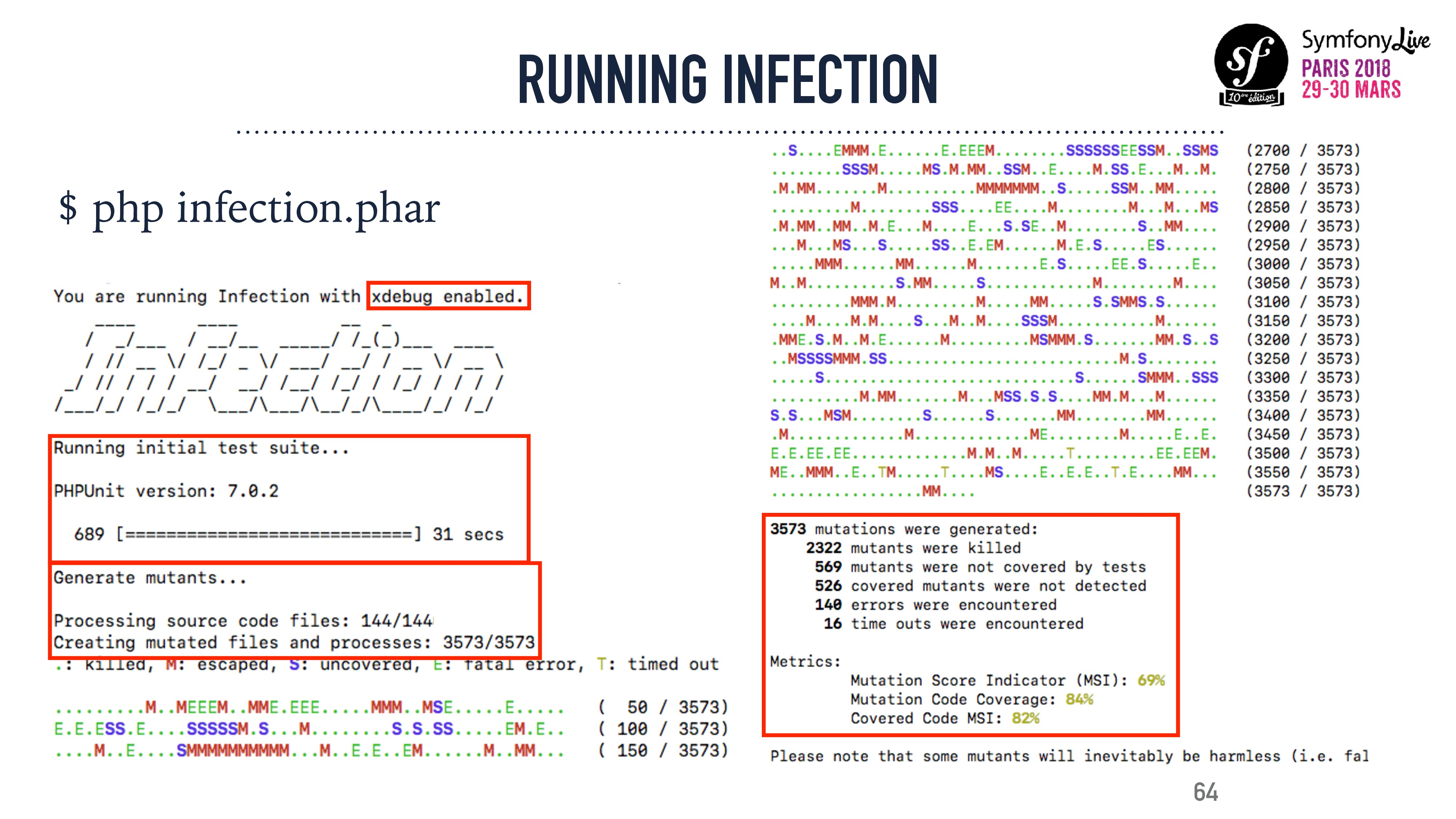 64 RUNNING INFECTION $ php infection.phar
