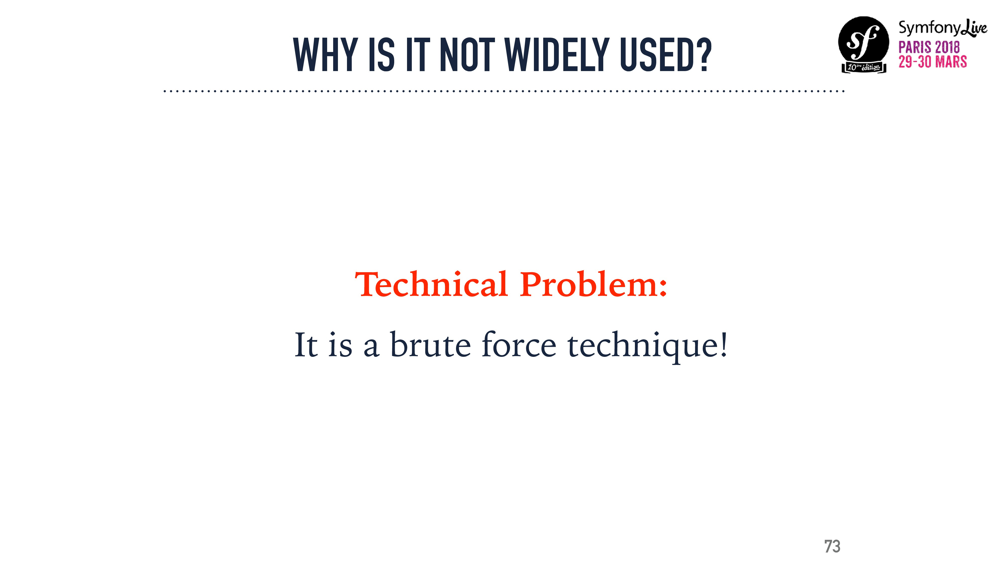 WHY IS IT NOT WIDELY USED? Technical Problem: I...