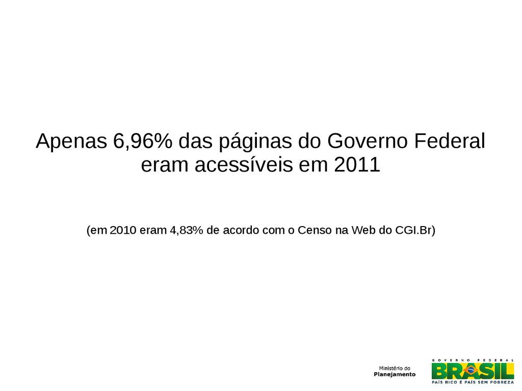 Apenas 6,96% das páginas do Governo Federal era...