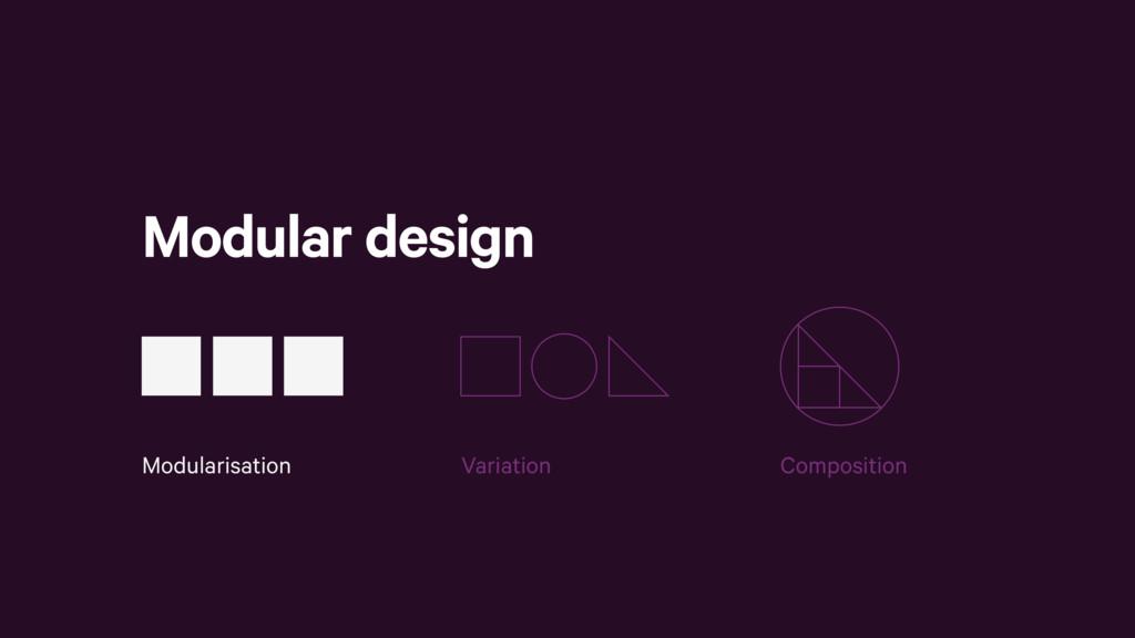 Modular design Modularisation Variation Composi...