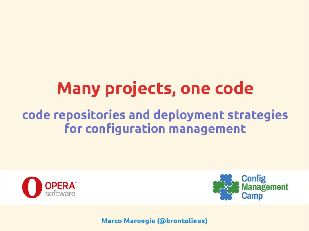 Many projects, one code code repositories and d...