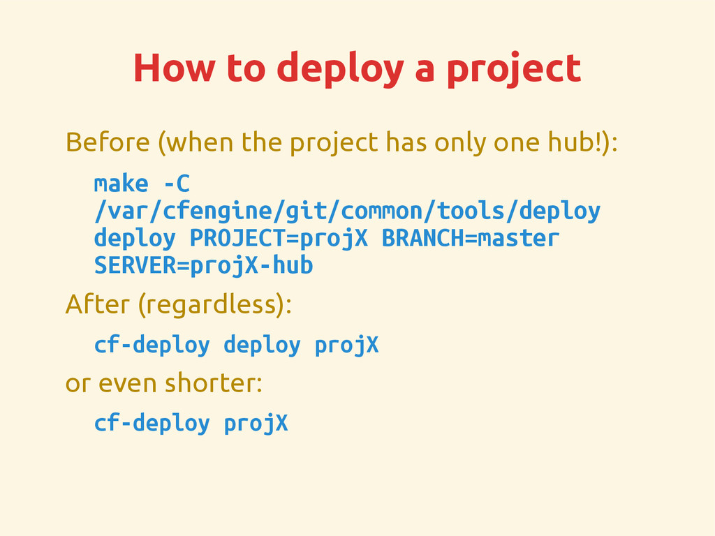 How to deploy a project Before (when the projec...