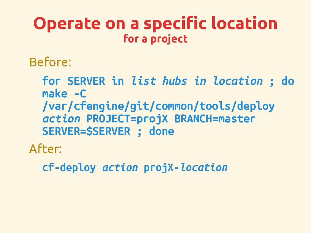 Operate on a specific location for a project Be...