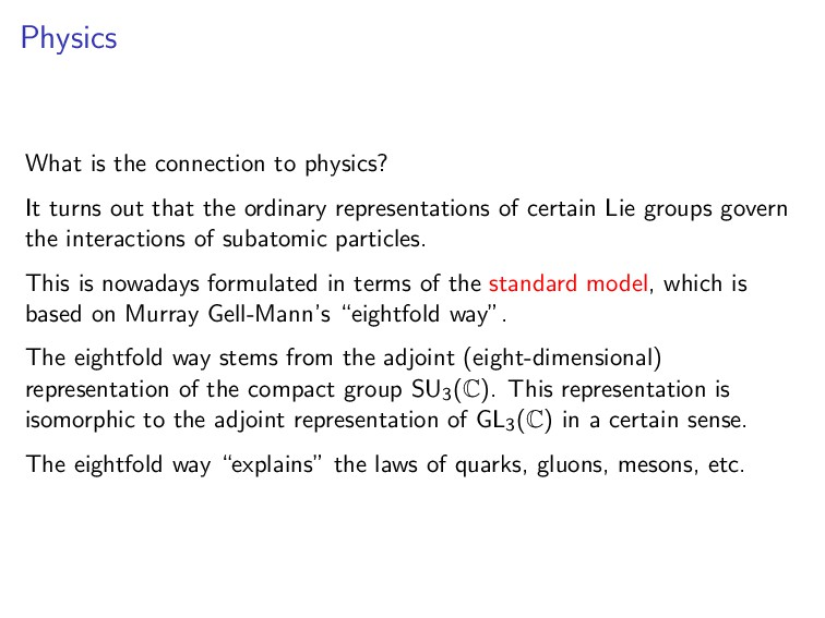Physics What is the connection to physics? It t...
