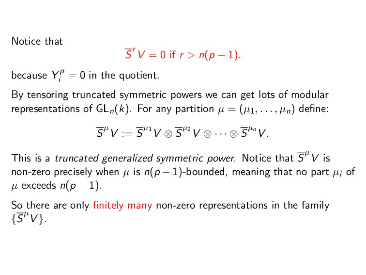 Notice that Sr V = 0 if r > n(p − 1). because Y...