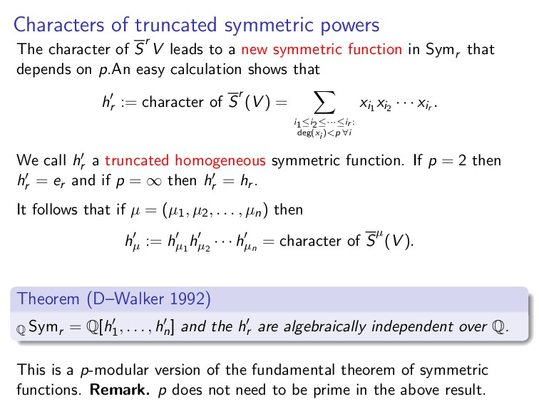 Characters of truncated symmetric powers The ch...
