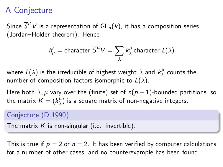A Conjecture Since Sµ V is a representation of ...