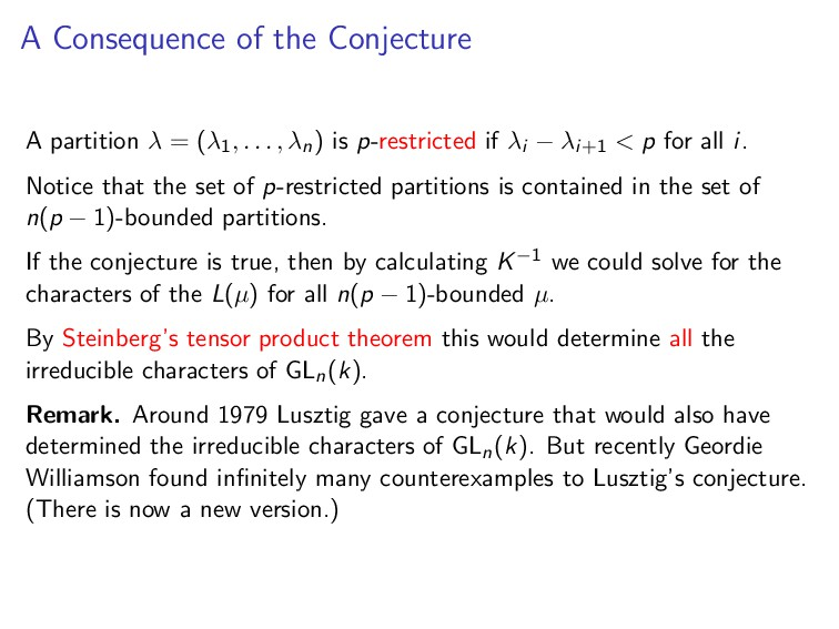 A Consequence of the Conjecture A partition λ =...