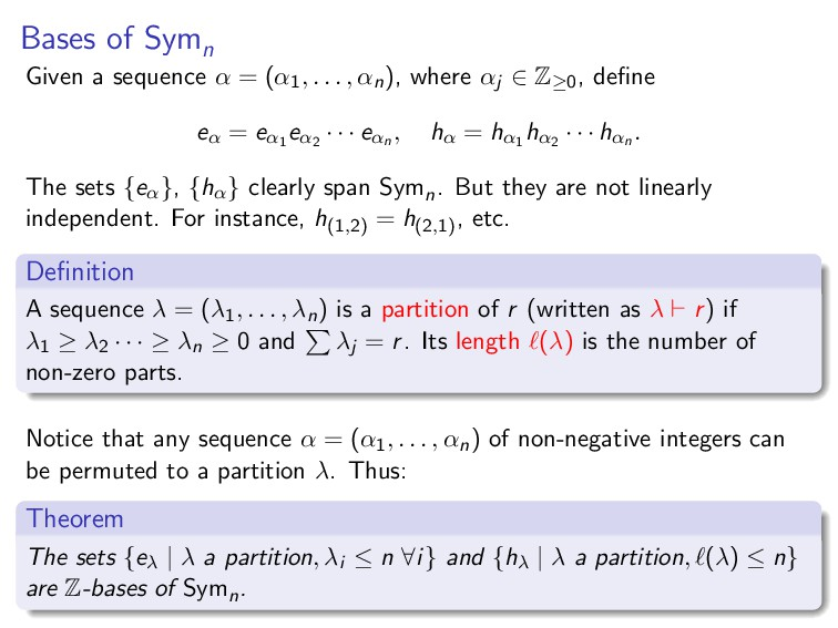 Bases of Symn Given a sequence α = (α1, . . . ,...