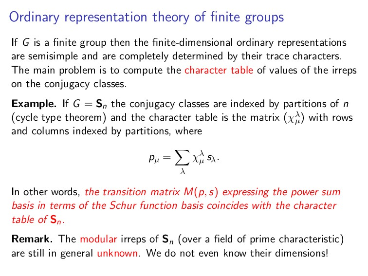 Ordinary representation theory of finite groups ...