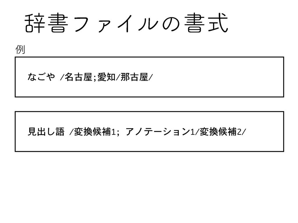 ࣙॻϑΝΠϧͷॻࣜ なごや /名古屋;愛知/那古屋/ 見出し語 /変換候補1; アノテーション...