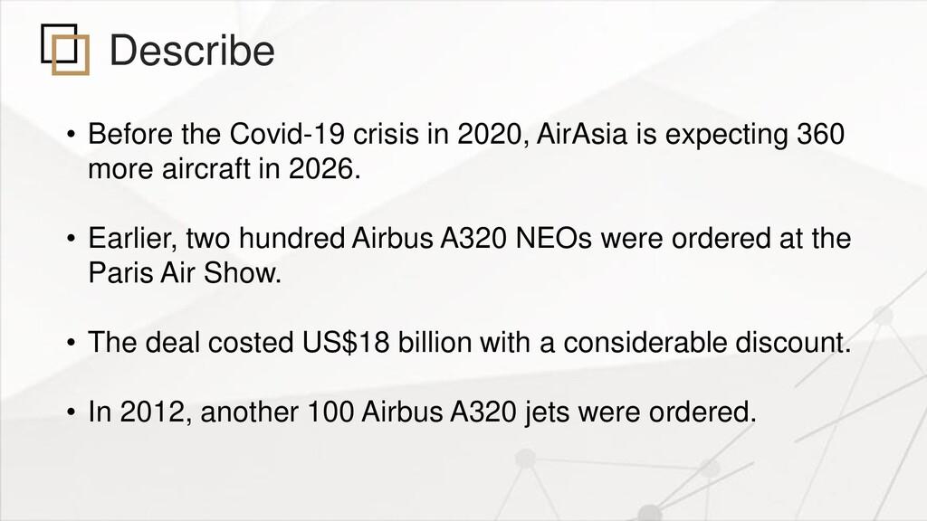 Describe • Before the Covid-19 crisis in 2020, ...