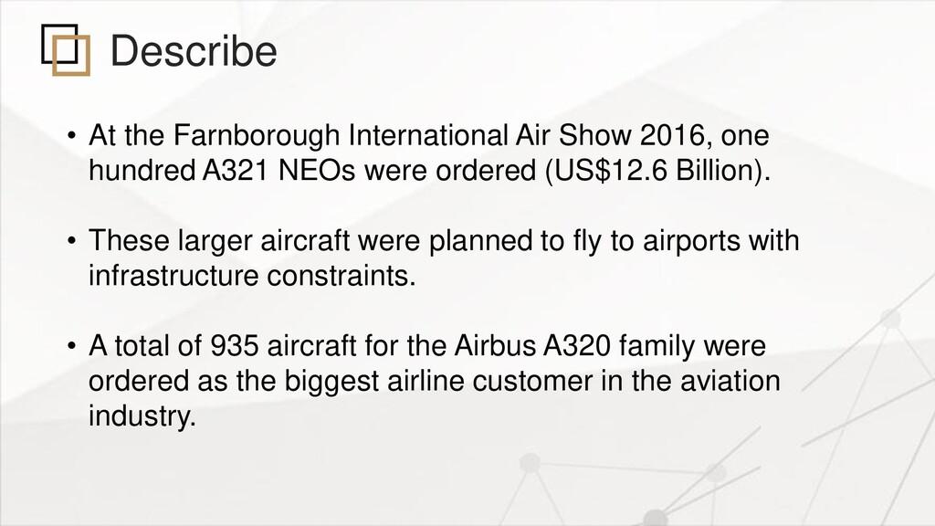 Describe • At the Farnborough International Air...