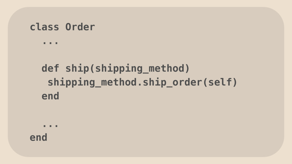 class Order ... def ship(shipping_method) shipp...