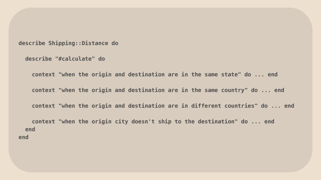 """describe Shipping::Distance do describe """"#calcu..."""