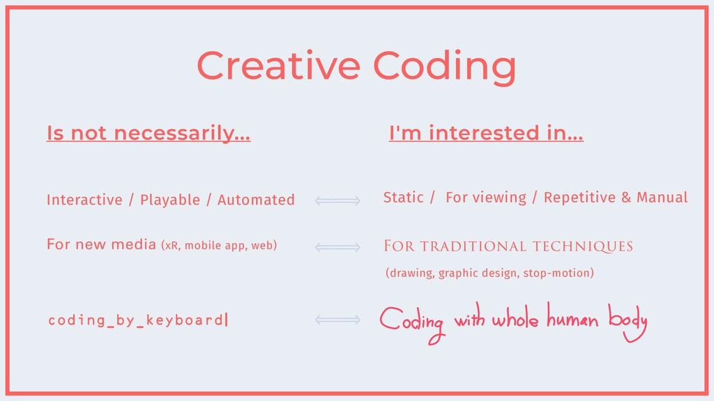 Creative Coding Is not necessarily... Interacti...