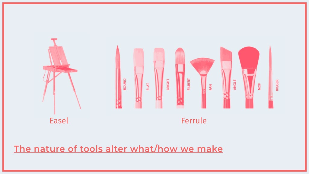 The nature of tools alter what/how we make Ferr...