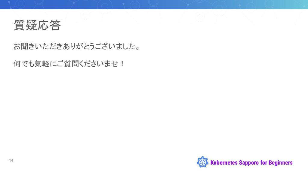 Kubernetes Sapporo for Beginners 質疑応答 お聞きいただきあり...