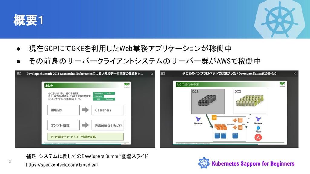 Kubernetes Sapporo for Beginners 概要1 ● 現在GCPにてG...