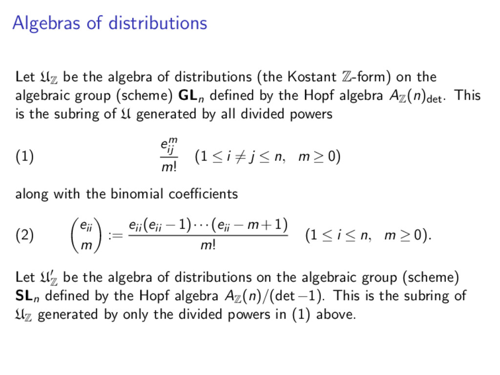 Algebras of distributions Let U Z be the algebr...