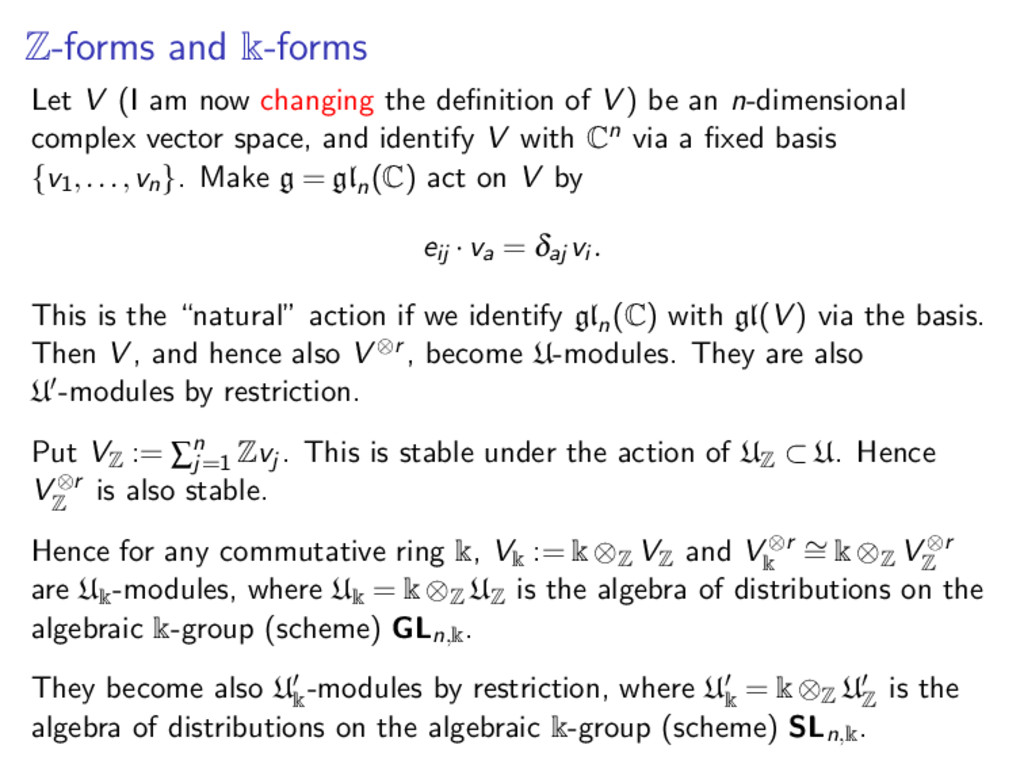 Z-forms and k-forms Let V (I am now changing th...