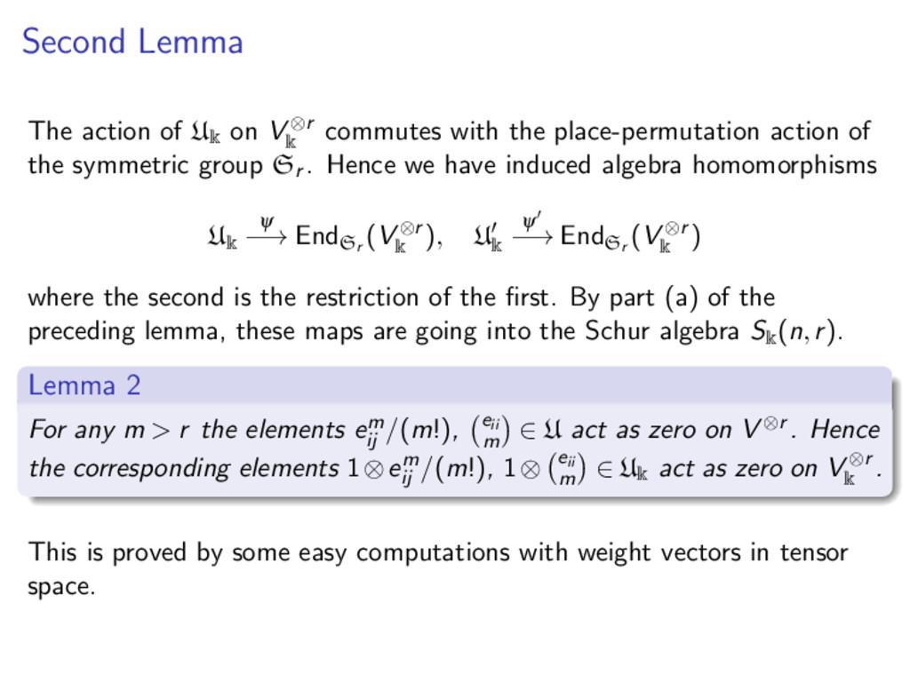 Second Lemma The action of U k on V ⊗r k commut...