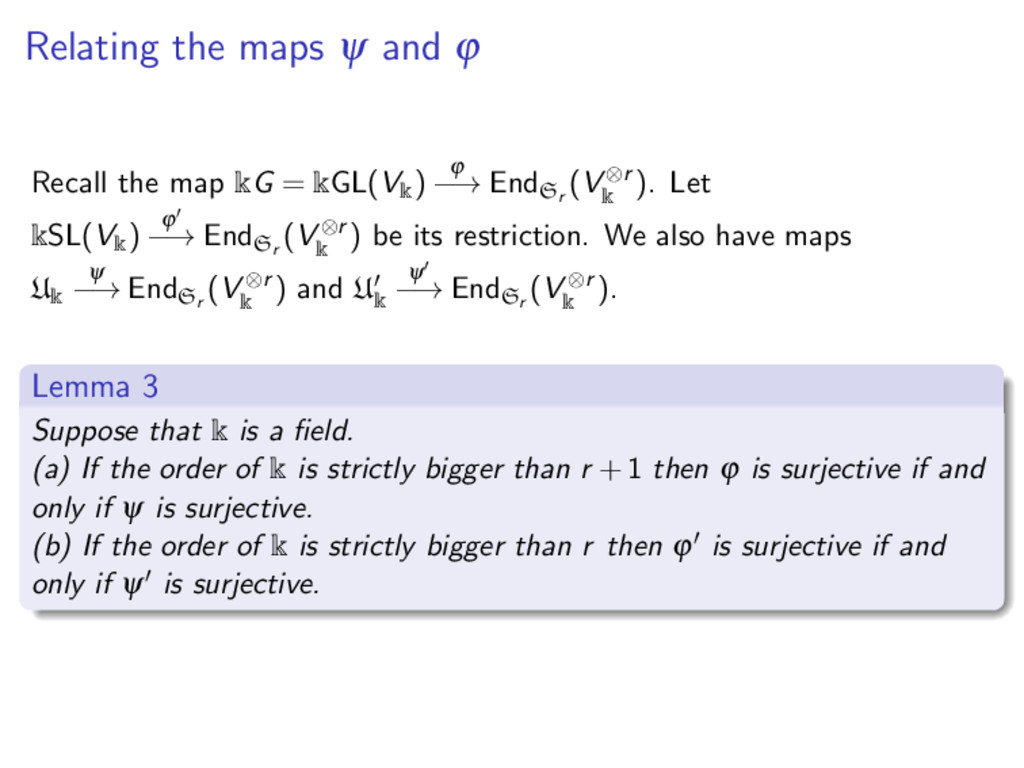 Relating the maps ψ and ϕ Recall the map kG = k...
