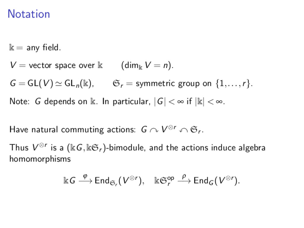 Notation k = any field. V = vector space over k ...