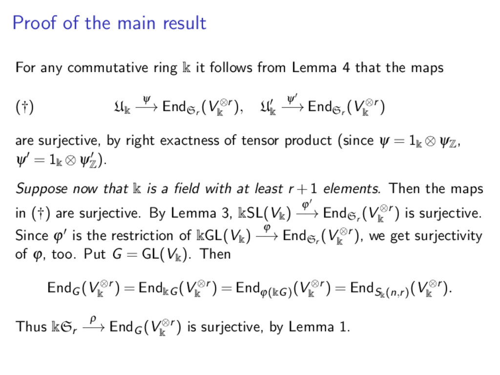 Proof of the main result For any commutative ri...