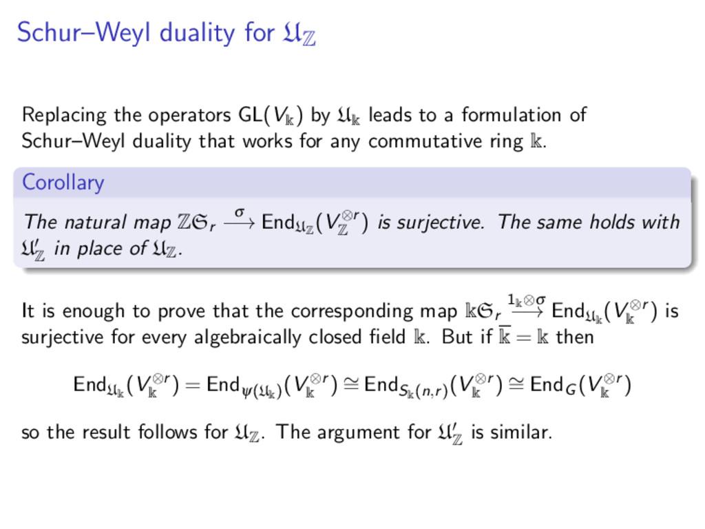 Schur–Weyl duality for U Z Replacing the operat...