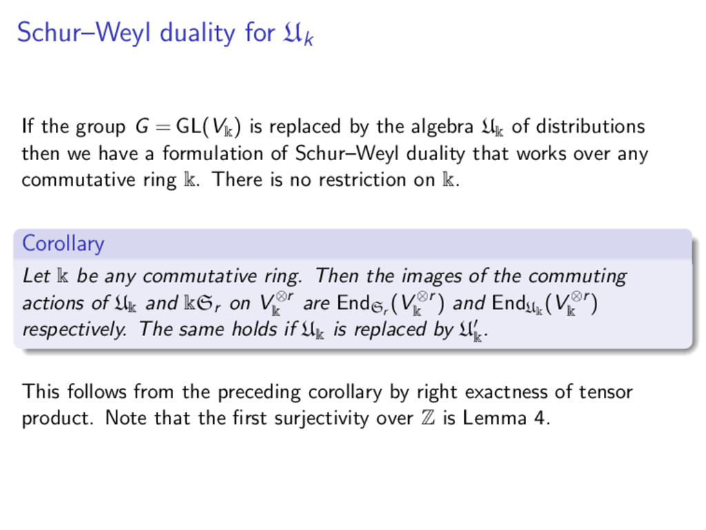 Schur–Weyl duality for Uk If the group G = GL(V...