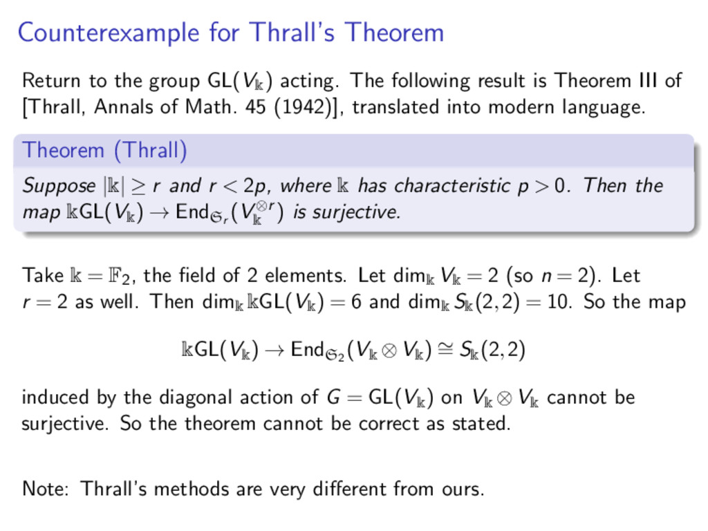 Counterexample for Thrall's Theorem Return to t...
