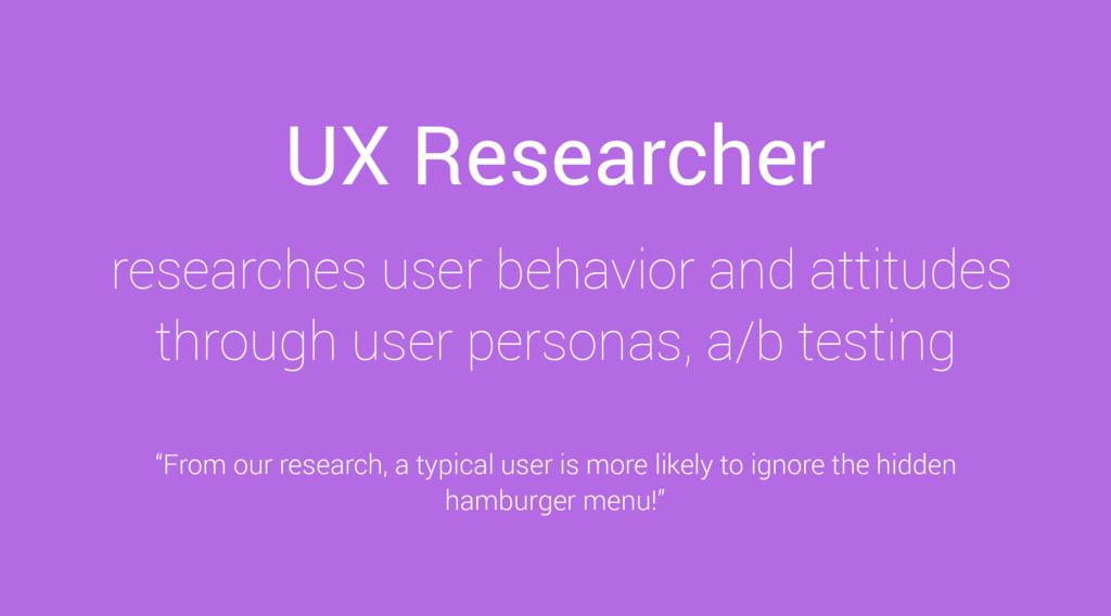 UX Researcher researches user behavior and atti...