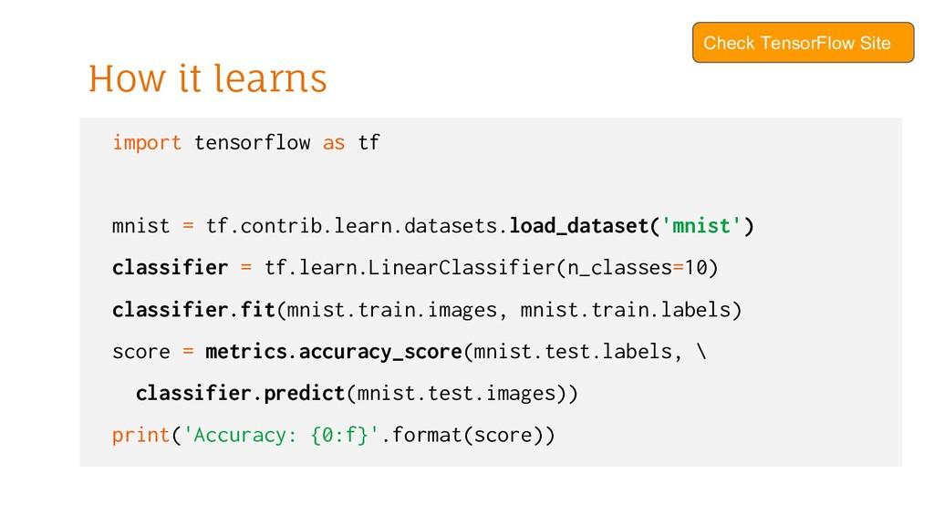 import tensorflow as tf mnist = tf.contrib.lear...
