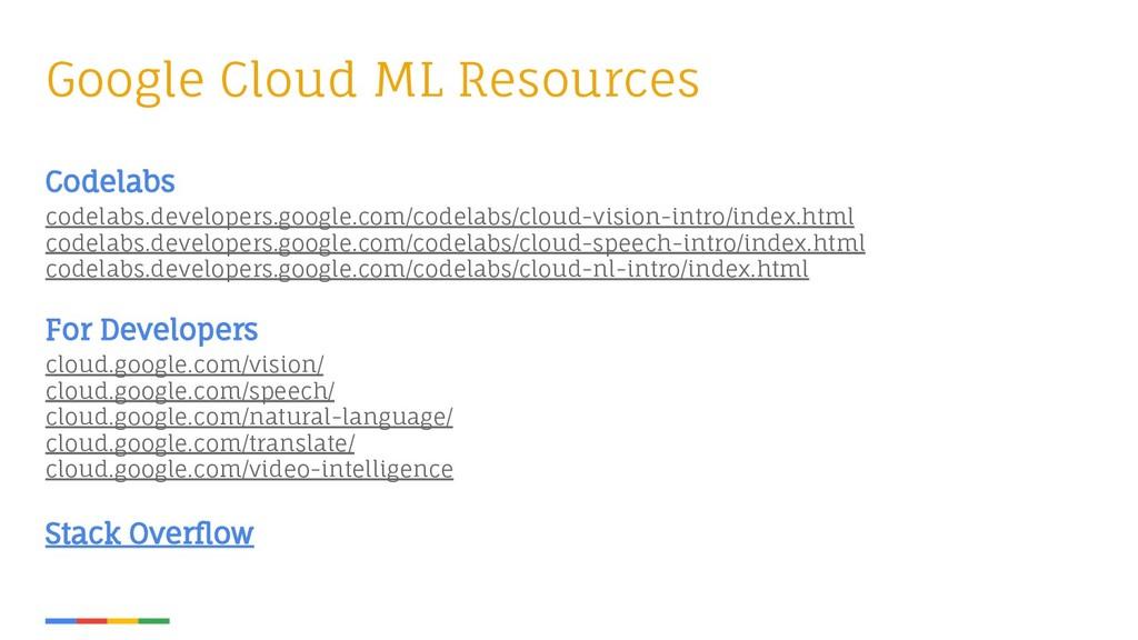 Google Cloud ML Resources Codelabs codelabs.dev...