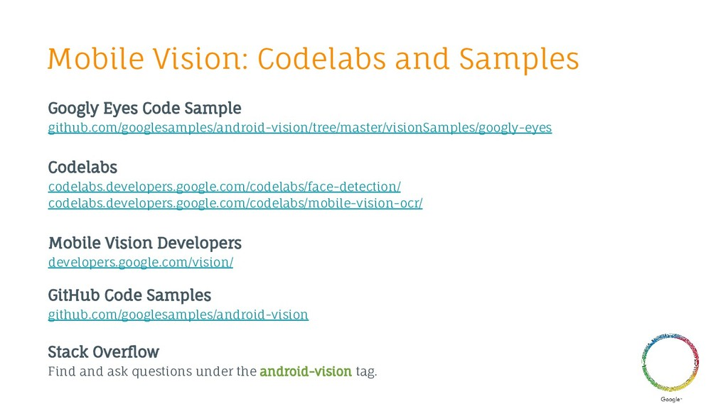 Mobile Vision: Codelabs and Samples Googly Eyes...