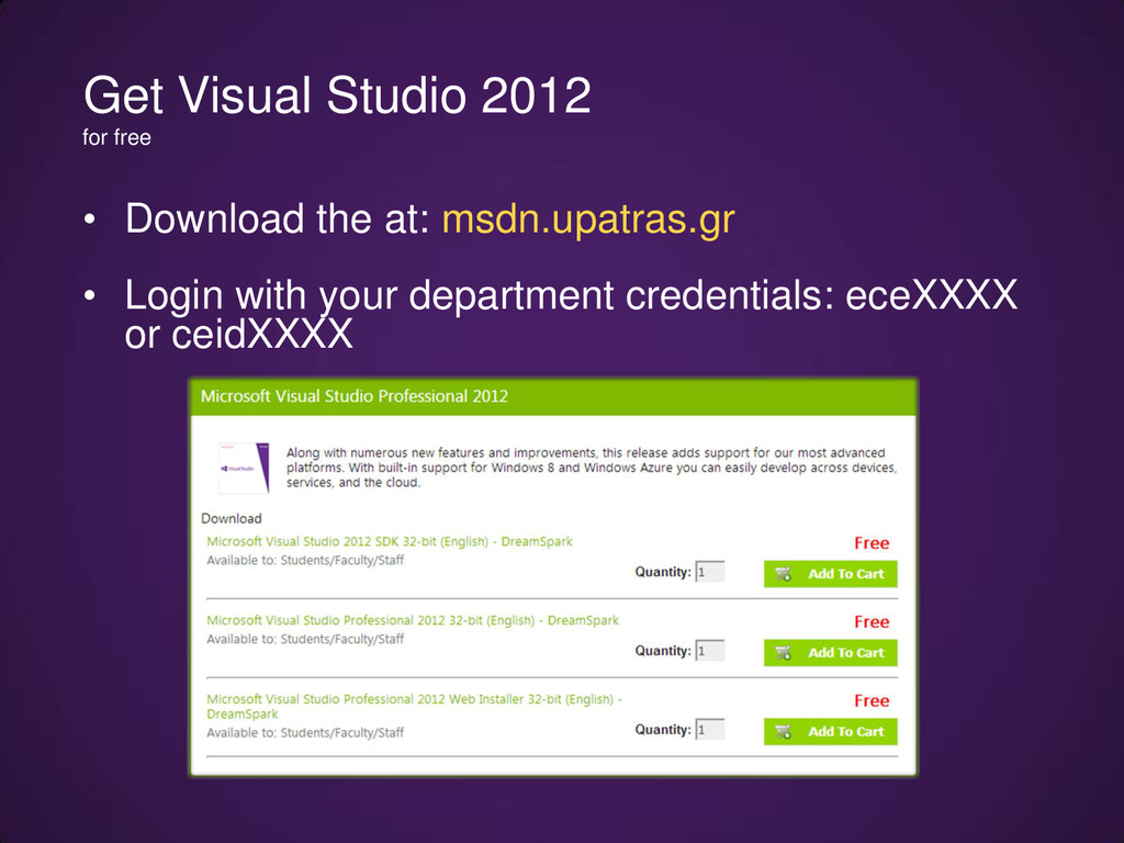 • Download the at: msdn.upatras.gr • Login with...