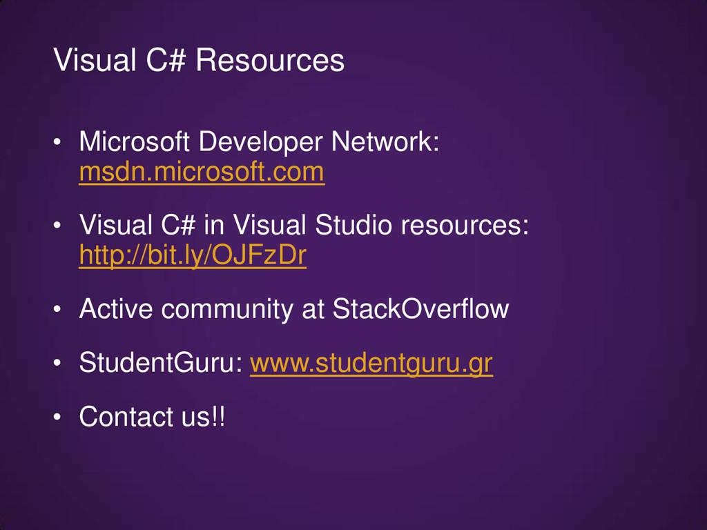 • Microsoft Developer Network: msdn.microsoft.c...