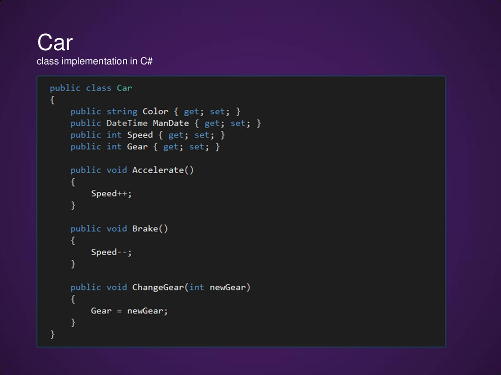 Car class implementation in C#