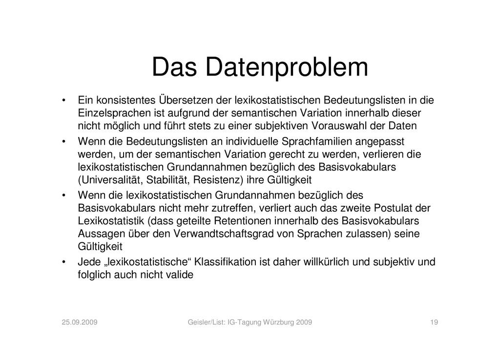 Das Datenproblem • Ein konsistentes Übersetzen ...