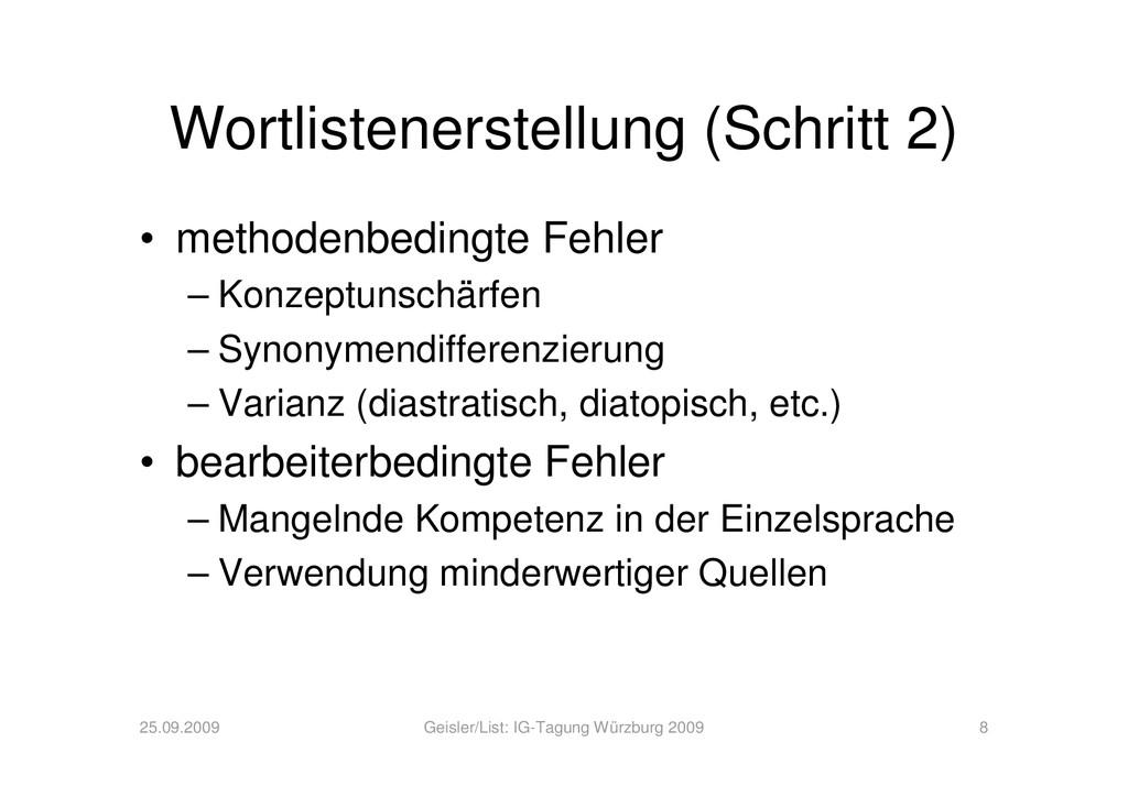 Wortlistenerstellung (Schritt 2) • methodenbedi...