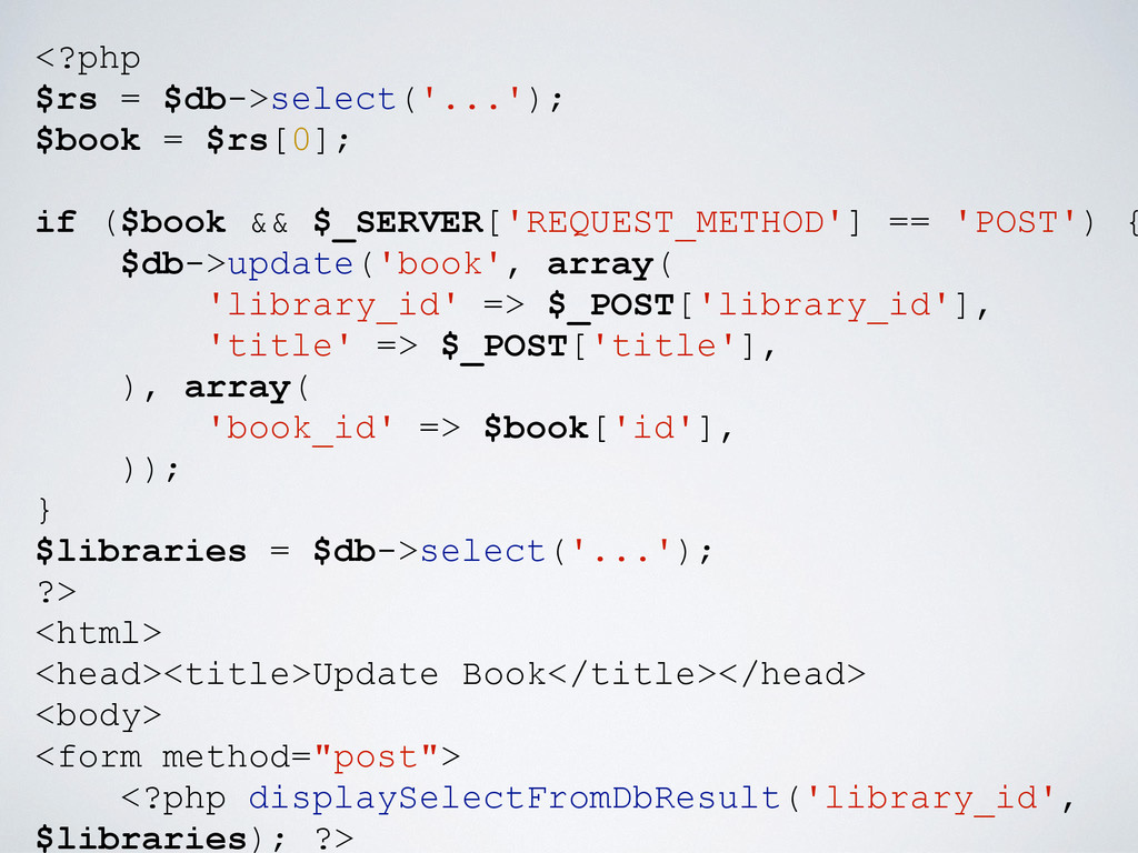 <?php $rs = $db->select('...'); $book = $rs[0];...