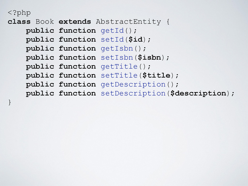 <?php class Book extends AbstractEntity { publi...
