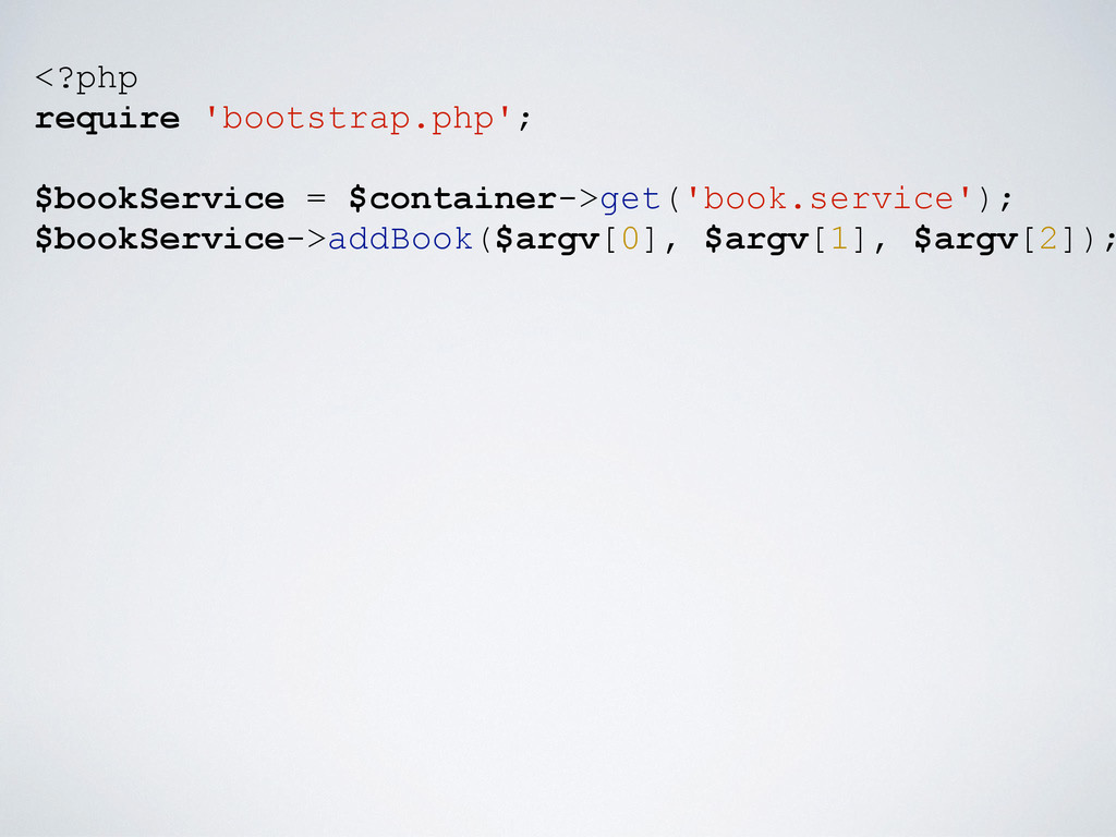 <?php require 'bootstrap.php'; $bookService = $...