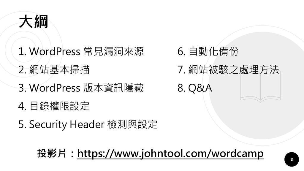 大綱 3 1. WordPress 常見漏洞來源 2. 網站基本掃描 3. WordPress...