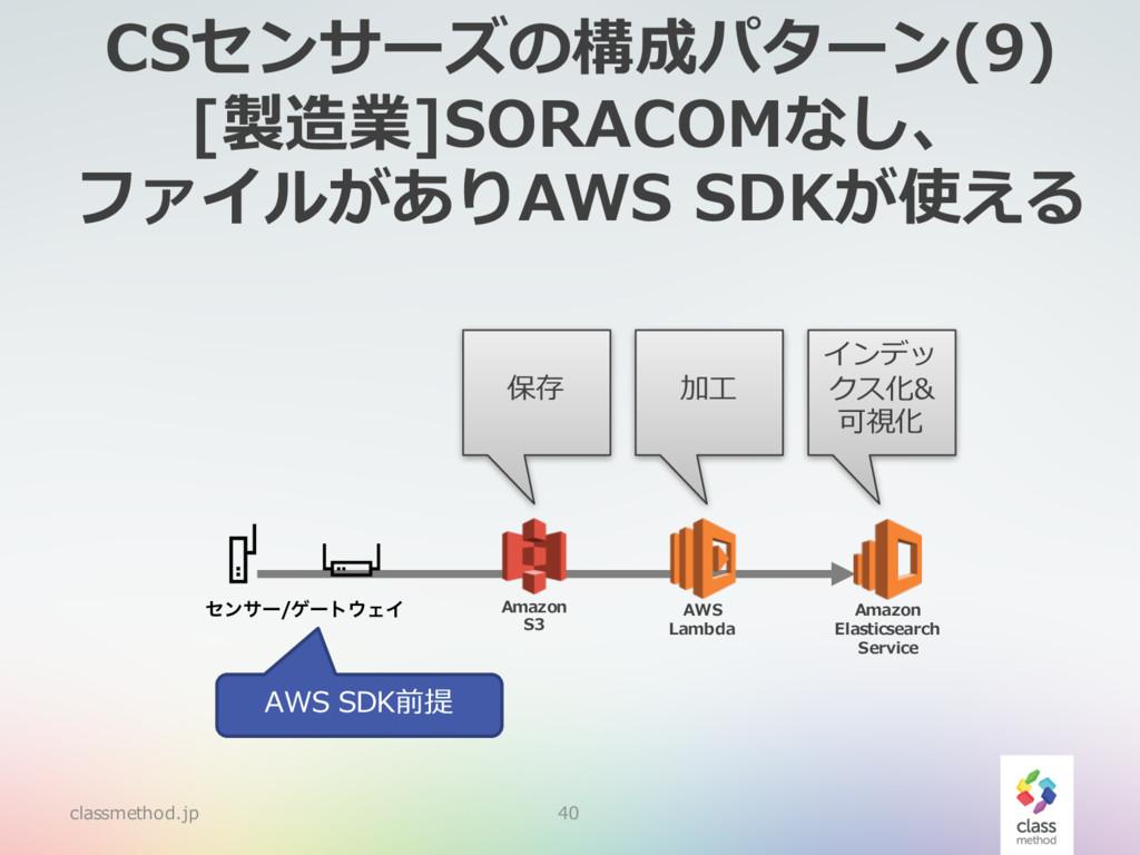 CSセンサーズの構成パターン(9) [製造業]SORACOMなし、 ファイルがありAWS SD...